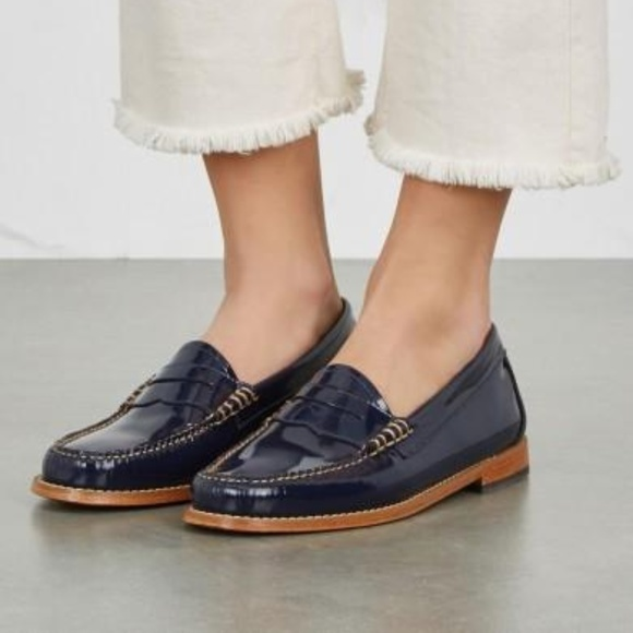 a2cce91ea86 Bass Shoes - Bass Weejuns Preppy Navy Blue Patent Penny Loafers